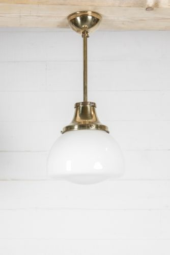 Brass and Oapaline pendant lights