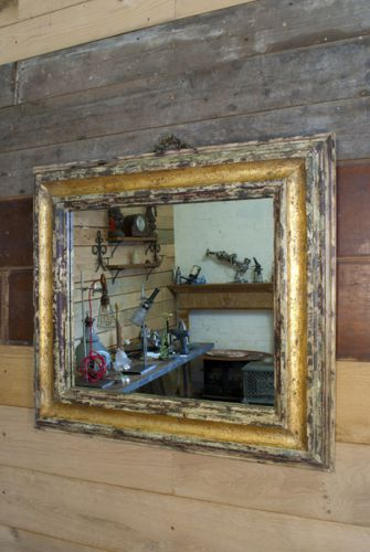 Painted gilded pine framed mirror