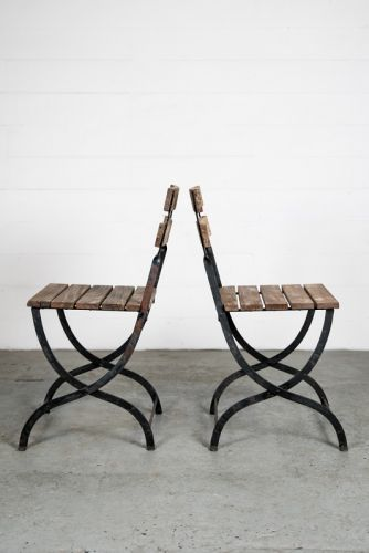 Teak and Iron Garden Chairs